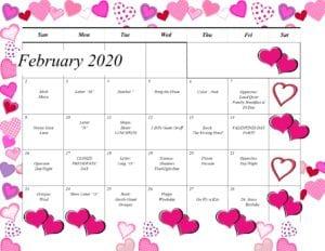 sunshine house preschool february calendar